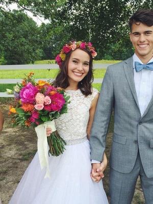 Glamorous Court Train Bateau Beaded Tulle Sleeveless Puffy Wedding Dresses_4