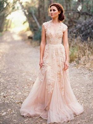 Elegant Tulle  Sleeveless Sweep Train Applique V-neck Wedding Dresses_1