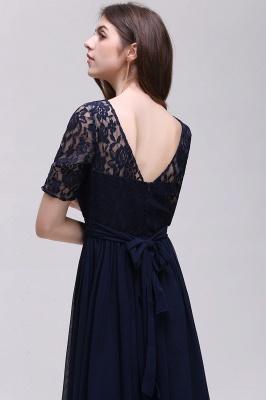 Elegant A-line  Lace Scoop Half-Sleeve Floor-Length Bridesmaid Dress_5