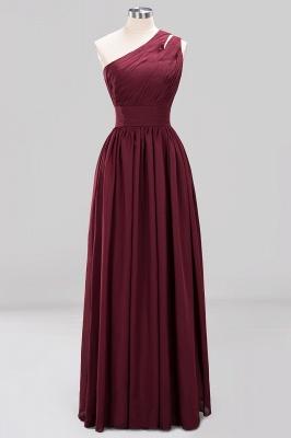 Elegant A-Line Burgundy One-Shoulder Sleeveless Ruffles Floor-Length  Bridesmaid Dresses_7