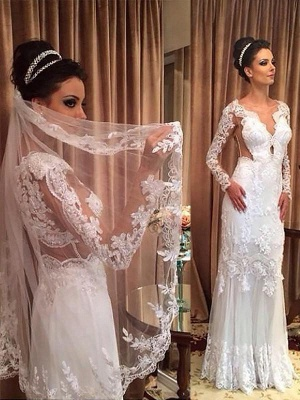 Sweep Train Column Tulle V-neck Long Sleeves Applique Wedding Dresses_1