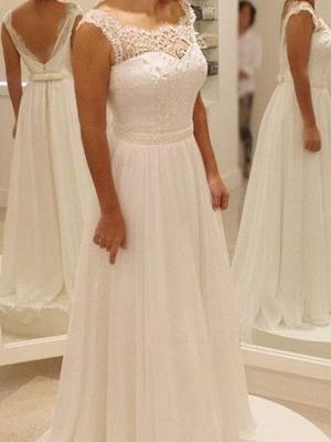 Bowknot Chiffon Scoop Sleeveless Sweep Train Lace Wedding Dresses_1