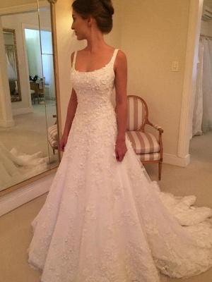 Dazzling Court Train Straps Sleeveless Square Lace Applique Wedding Dresses_4