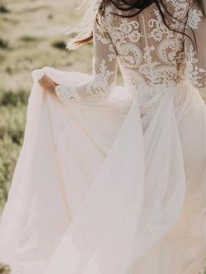 Alluring Long Sleeves Floor-Length Applique Tulle Scoop Wedding Dresses_5