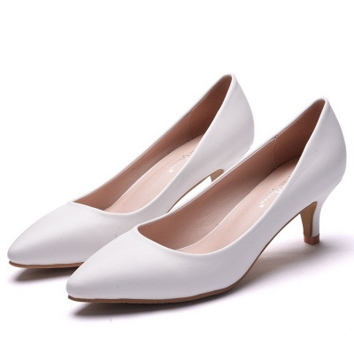Fashion Pionted Toe PU Kitten Heel Wedding Shoes_1