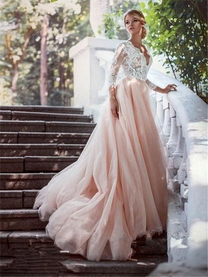 V-neck Court Train Applique Wedding Dresses | Tulle Puffy Long Sleeves Bridal Gowns_3