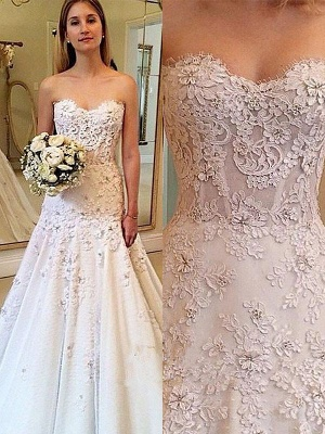 Charming Sweetheart Court Train Sleeveless Lace Wedding Dresses_1
