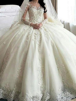 Tulle Scoop Applique Long Sleeves Puffy Cathedral Train Lace Wedding Dresses_1