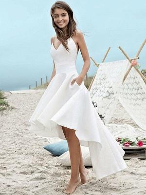 Sleeveless Asymmetrical Satin Spaghetti Straps Ruched Wedding Dresses_1