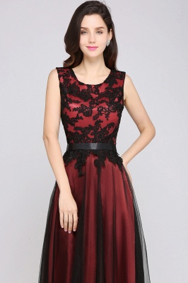 Elegant A-Line  Lace Sleeveless Floor-Length Bridesmaid Dress with Sash_3