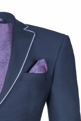 Popular Stylish Design Ink Blue Peak Lapel Two Button Groomsmen_4