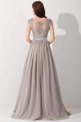A-line  V-Neck Sleeveless Ruffles Floor-Length Bridesmaid Dress with Appliques_2