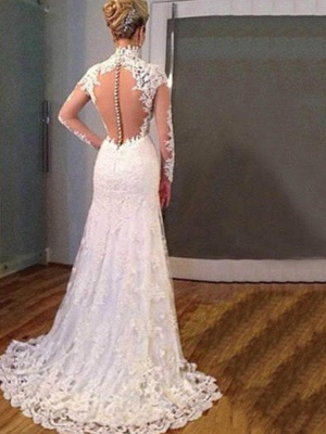 V-neck Sweep Train Applique Lace Sexy Mermaid Long Sleeves Wedding Dresses_4