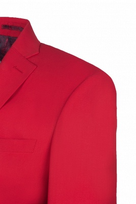 Customize Red Two Button High Quality Back Vent Wedding Suit_4