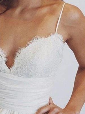 Sweep Train  Satin Spaghetti Straps Puffy Sleeveless Ruched Wedding Dresses_3