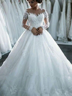 Glamorous Scoop Applique Long Sleeves Puffy Chapel Train Tulle Wedding Dresses_5