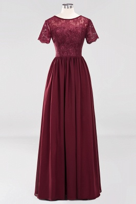 A-line  Lace Jewel Short-Sleeves Floor-length Bridesmaid Dress_40
