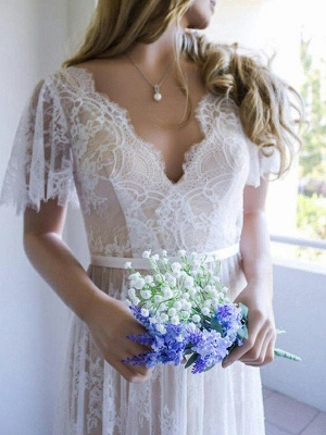 V-neck Sweep Train Short Sleeves Lace Wedding Dresses with Ribbon_3
