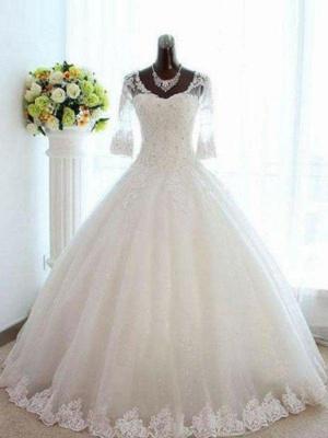 Floor-Length Tulle Puffy Beads V-neck 3/4 Sleeves Bateau Wedding Dresses_1
