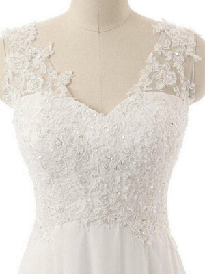 Sweep Train V-neck Sleeveless Chiffon Lace Wedding Dresses_3