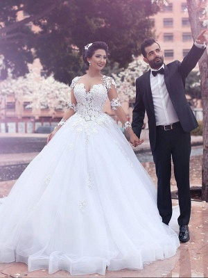 Long Sleeves Sweetheart Tulle Puffy Court Train Wedding Dresses_1