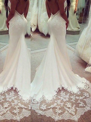 Shabby Chic Sexy Mermaid Spaghetti Straps Applique Satin Wedding Dresses_3