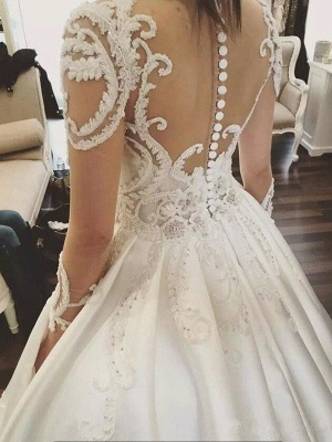 Long Sleeves Satin Puffy Scoop Cathedral Train Applique Wedding Dresses_5