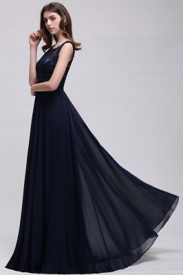 Elegant A-line  Lace Scoop Sleeveless Floor-Length Bridesmaid Dress_4