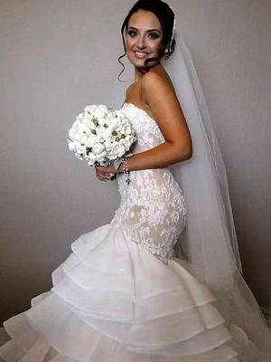 Chapel Train Organza Lace Sexy Mermaid Wedding Dresses | Ruffles Sweetheart Applique Bridal Gowns_1