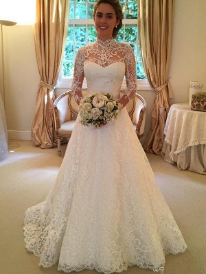 High Neck Court Train Puffy Long Sleeves Lace Wedding Dresses_1