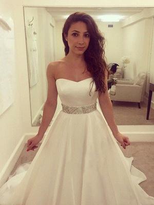 Elegant Sleeveless Sweep Train Sweetheart Tulle Beaded Wedding Dresses_4