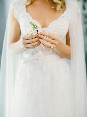 Sleeveless Floor-Length Lace Tulle V-neck Wedding Dresses_3