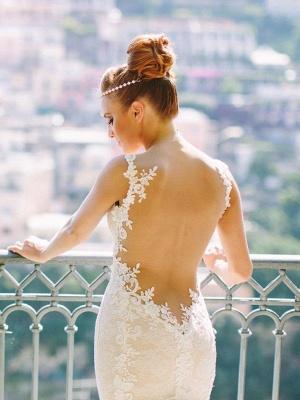 Spaghetti Straps Tulle Sleeveless Sweetheart Lace Sexy Mermaid Wedding Dresses_3