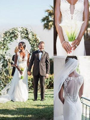 Stunning Sweep Train Sheath V-neck Tulle Wedding Dresses_1