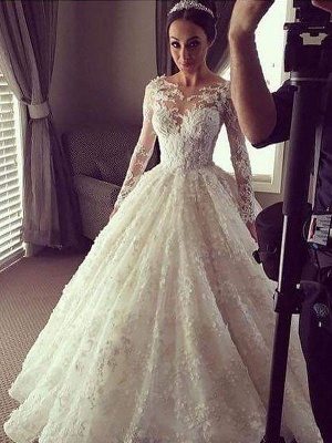 Breathtaking Scoop Lace Puffy Court Train Long Sleeves Wedding Dresses_3