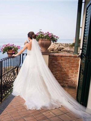 Elegant Sleeveless Sweep Train Sweetheart Tulle Beaded Wedding Dresses_3