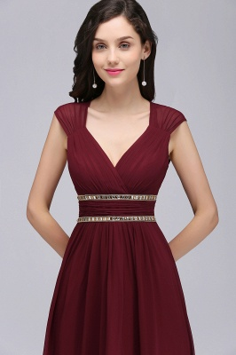 Vintage A-Line  V-Neck Cap Sleeve Ruffles Floor-Length Bridesmaid Dresses with Beadings_5