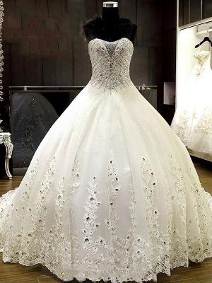 Sweetheart Sleeveless Cathedral Train Tulle Puffy Rhinestone Wedding Dresses_1