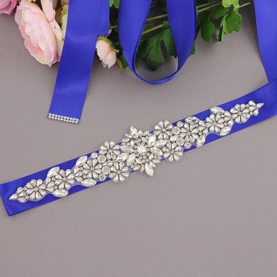 Satin Flowers Pattern Wedding Sash with Pearls_4