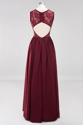 A-Line Chiffon Lace Bridesmaid Dresses | Scoop Sleeveless Wedding Party Dresses_8