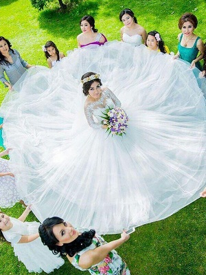 Charming Long Sleeves Court Train Puffy Bateau Tulle Wedding Dresses_3
