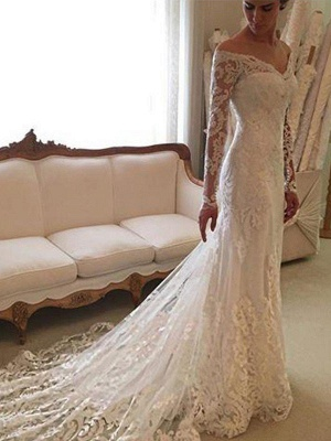 Long Sleeves Off-the-Shoulder Court Train Sheath Lace Wedding Dresses_1
