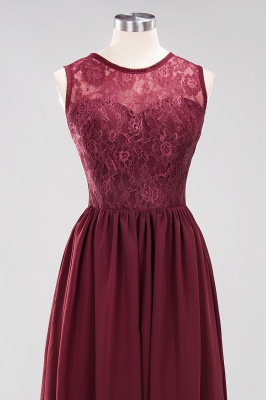A-Line Chiffon Lace Bridesmaid Dresses | Scoop Sleeveless Wedding Party Dresses_10