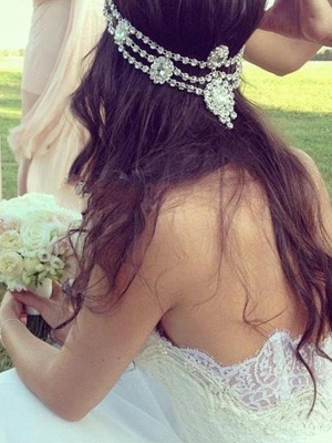 Charming Court Train Sleeveless Sweetheart Tulle Lace Wedding Dresses_1