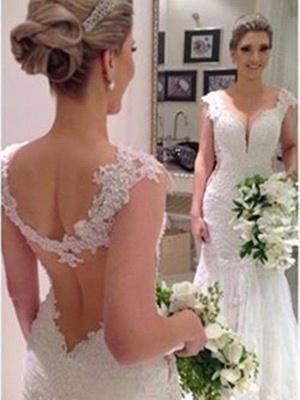 Sleeveless V-neck Lace Sweep Train Sexy Mermaid Wedding Dresses_3