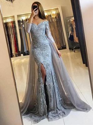 Lace-Appliques Long-Sleeve Newest Mermaid Sweetheart Front-Split Prom Dress_3
