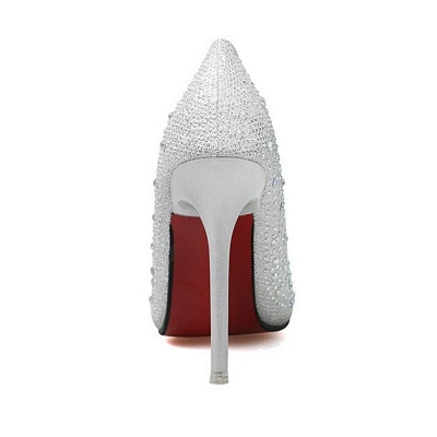 Fashion Pionted Toe High Heel Wedding Shoes with Beadings_5
