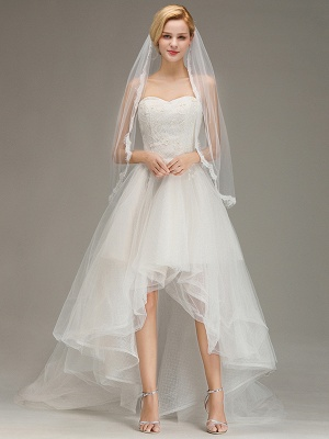 Lace Edge One Layer Wedding Veil with Comb Soft Tulle Bridal Veil_2