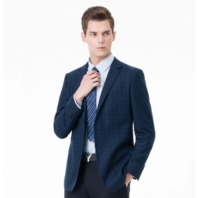 Lattice Two Button Peak Lapel Two Pieces with Pants Comfortable Groomsmen_3