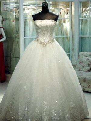 Sleek  Beaded Strapless Sleeveless Floor-Length Tulle Puffy Wedding Dresses_1
